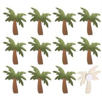Drevené výrezy - palmy / 3,8-4,2cm / 12ks