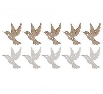 Drevené výrezy - kolibrík / 4x4cm / 10ks
