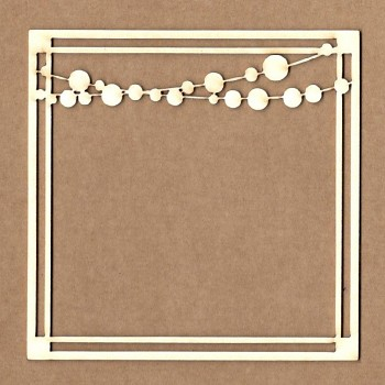 Chipboards - Square frame with garland / 9x9 cm / 1ks