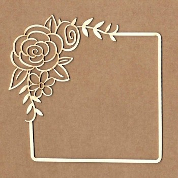 Chipboards - Square frame with rose / 10x10cm / 1ks