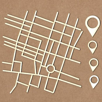 Chipboards - Street map / 12 cm / 1ks