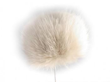Kožušinový brmbolec na čiapku 8 cm / ecru