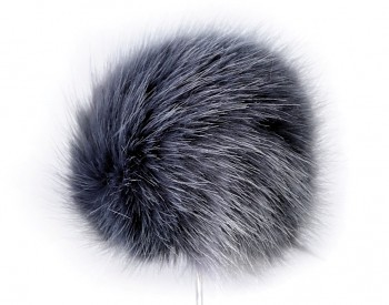Imitation Fur Pom Pom for Hats Ø8 cm / blue-grey