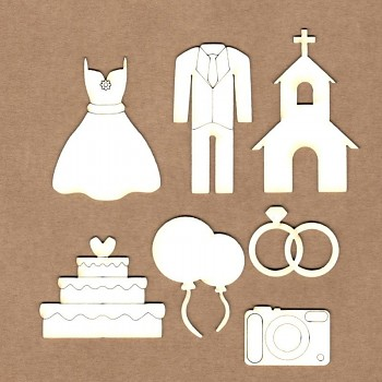 Chipboards - Wedding set / 7ks