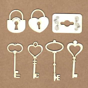 Chipboards - Vintage keys / 7ks