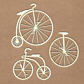 Chipboards - Vintage bicykle / 6cm, 7cm, 8cm / 3ks