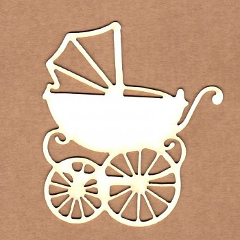 Chipboards - Vintage baby carriage / 7x8 cm / 1ks