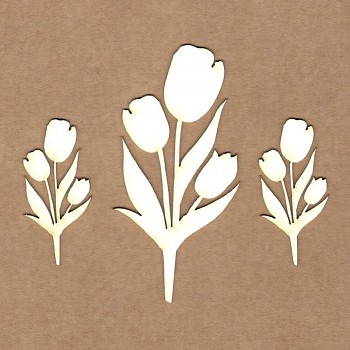 Chipboards - Tulips / 9cm, 5cm / 3ks