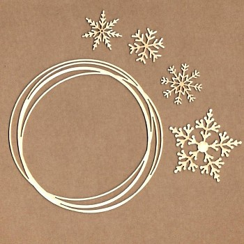 Chipboards - Swirl frame with snowflakes / 11cm, 5cm, 3cm / 5ks