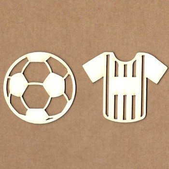 Chipboards - T-shirt with soccer ball / 6x5cm, 5cm / 2ks
