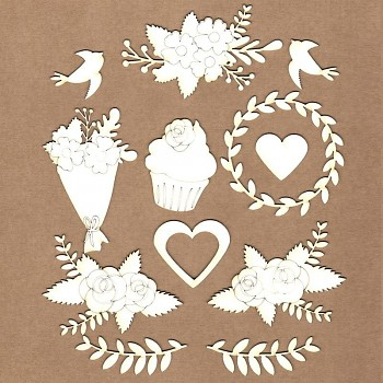 Chipboards - Set of wedding flowers / 2-8cm / 12ks