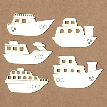 Chipboards - Set of boats / 7x3cm / 5ks