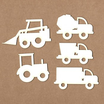 Wycinanki - Set of trucks and tractors / 6x4cm  / 5szt