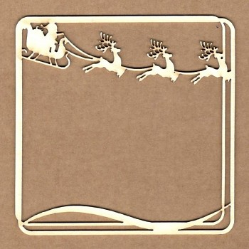 Chipboards - Santa square frame / 9x9cm / 1ks