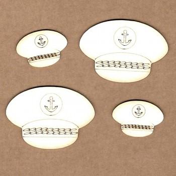 Chipboards - Námornícka čiapka / 4,5x3,2cm & 2,6x1,8cm / 4ks