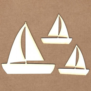 Chipboards - Sailboat / 4,5x4,5 cm & 7,8x7,8 cm / 3ks