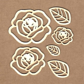 Chipboards - Perfiled roses / 2-5cm / 6ks