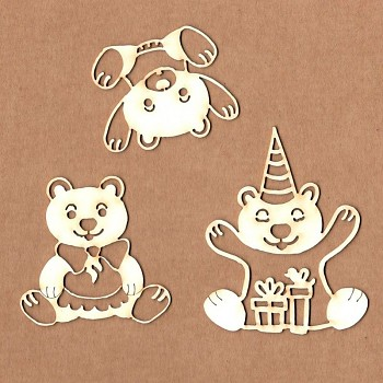 Chipboards - Party bears / 6cm / 3ks