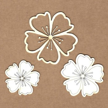 Chipboards - Almond blossoms /  5.5 cm, 4.5 cm, 3.5 cm / 3ks