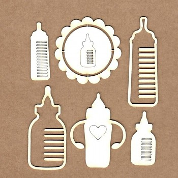 Chipboards - Baby bottles /  4cm -8,8 cm / 6ks