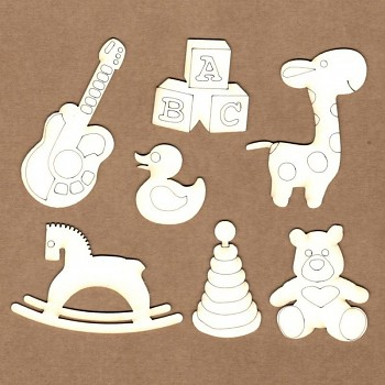 Chipboards - Baby toys /  3,5cm - 8 cm / 7ks
