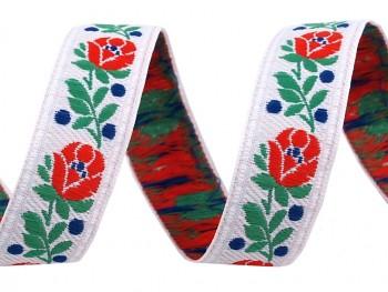 Polyester Folk Ribbon width 18mm / 1m / white