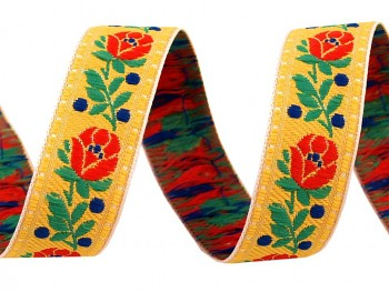 Polyester Folk Ribbon width 18mm / 1m / yellow