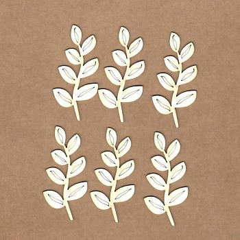 Chipboards - Branch with leaves /  6x3cm / 6St.