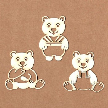 Chipboards - Bears playing / 6cm / 3ks
