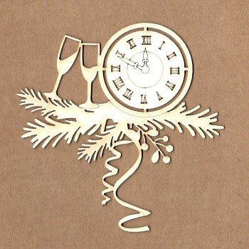 Chipboards - New Year's clock / 10x10cm / 1ks