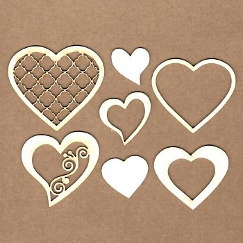 Chipboards - Decorated Hearts / 2-5,5cm / 7pcs