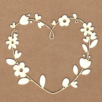 Chipboards - Floral heart frame / 11x10cm / 1ks