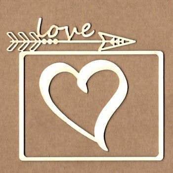 Chipboards - Frame BOHO arrow Love / 6x8cm & 5cm