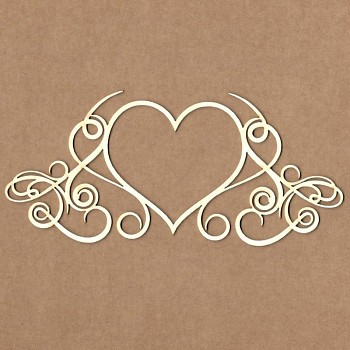 Chipboards - Calligraphic heart frame / 16x7 cm / 1ks