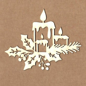 Chipboards - Christmas candles / 9,5x7,5 cm / 1ks