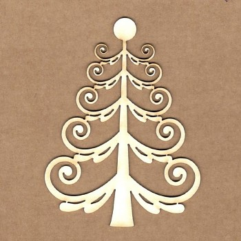 Chipboards - Curly Christmas tree / 7x9 cm / 1ks