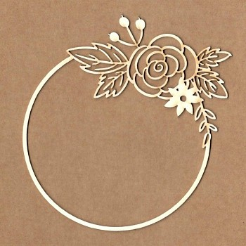 Chipboards - Circular frame with rose / 10cm / 1ks