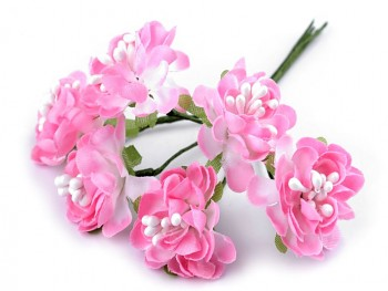 Artificial Flower on Wire / Floral Arrangements / 3,5cm / 6pcs / pink