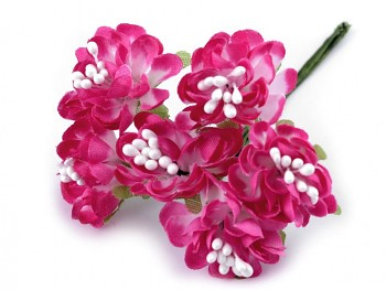 Artificial Flower on Wire / Floral Arrangements / 3,5cm / 6pcs / dark pink
