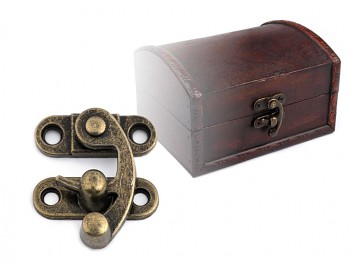 Antique Metal Lock / Catch Curved Buckle / 2pcs / vintage brass