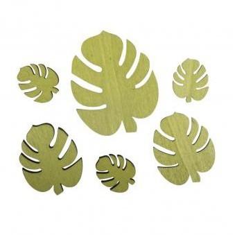 Drevené výrezy - Monstera leaf / 2,4x2,9cm-5,5x7cm / 6ks