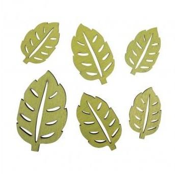 Small wood.object Beech leaf, 2.7x4.5cm-4.2x7cm, 6pcs, avocado