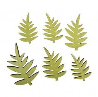 Drevené výrezy - Fern leaf / 3x4.7cm-4.5x6.9cm / 6ks