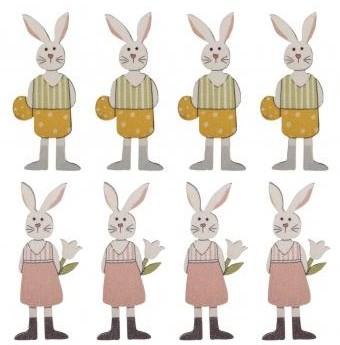 Small wood.object Rabbit fam.w. adh. dot, 2x4.5cm, 2 types, 8pcs