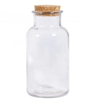 Glass bottle with cork lid, 10cm ø, 21cm, opening ø 5cm, 1.100ml