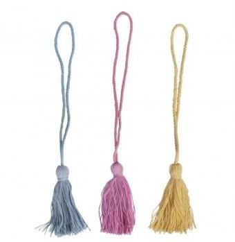Cotton tassels, 26cm, 3pcs, coloured