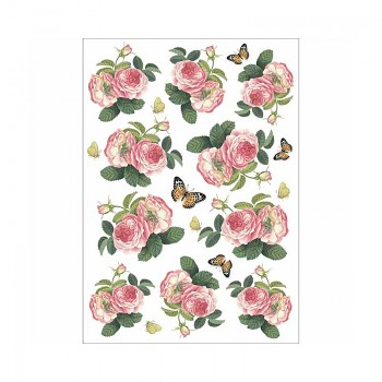 Rice decoupage paper A4 / Roses and butterfly