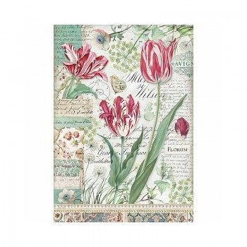 Rice decoupage paper A4 / Red Tulip