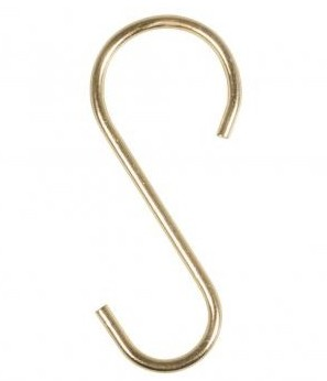 Metal S-hooks, 2,6x6,1cm, 4pcs, gold