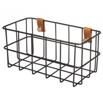 Wire basket, 16.5x8x8cm, incl. mounting, black